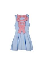 Lapin House LH blauw-wit gestreepte jurk rode strikken rug
