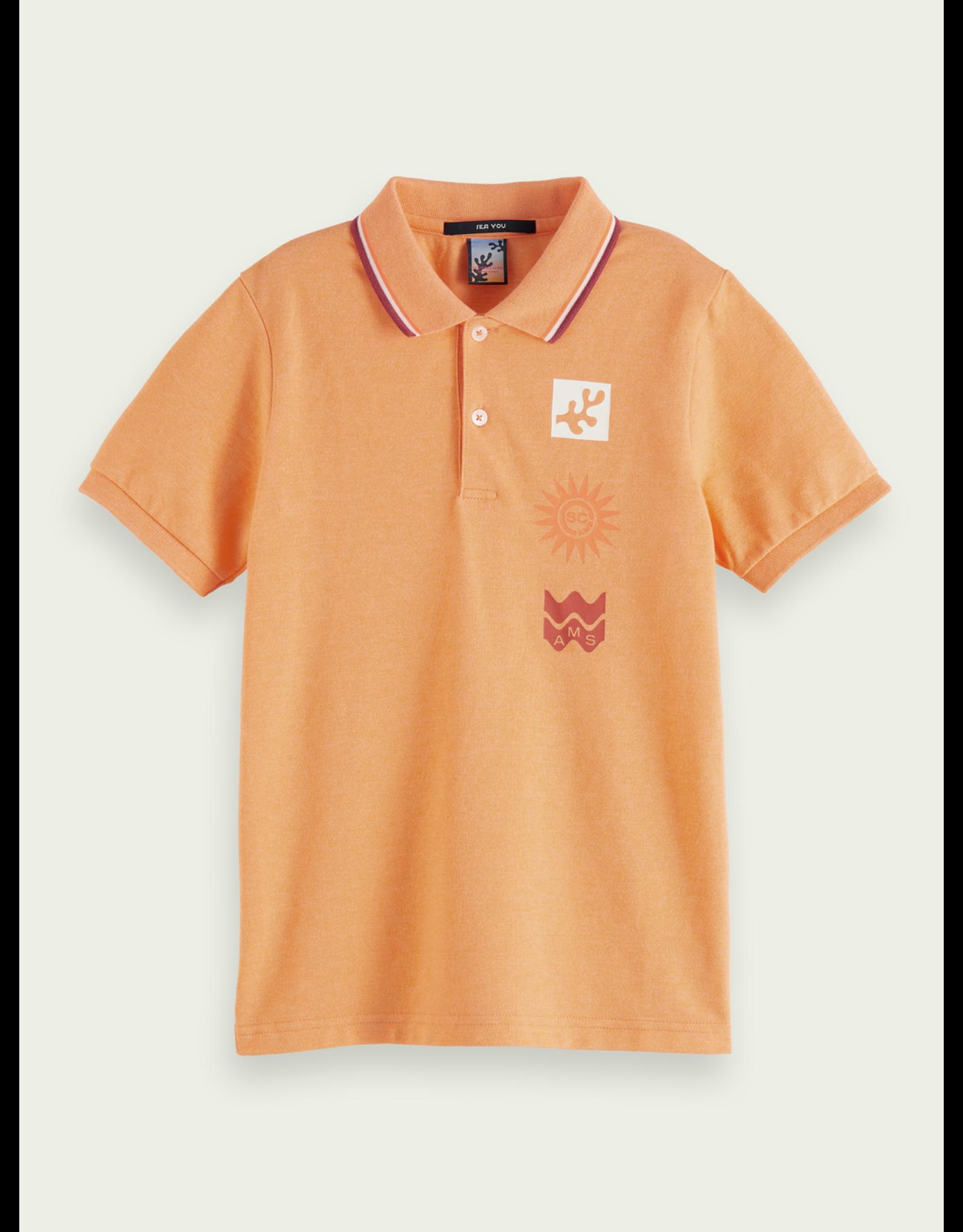Scotch & Soda S&S polo oranje artwork