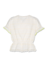 A076 AO76 blouse broderie wit fluogeel detail