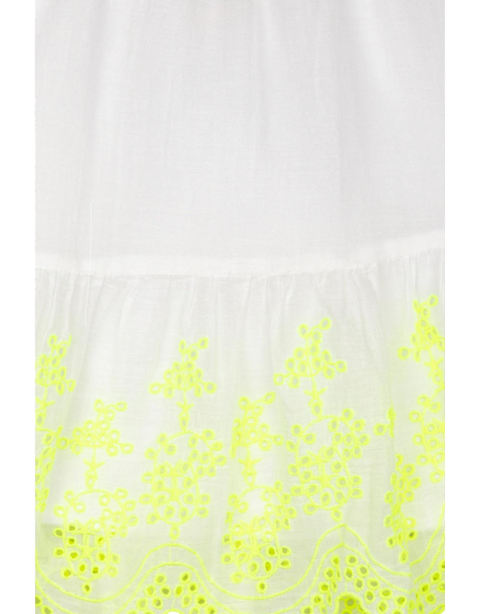 Billieblush BB wit zomers jurkje met fluo gele broderie