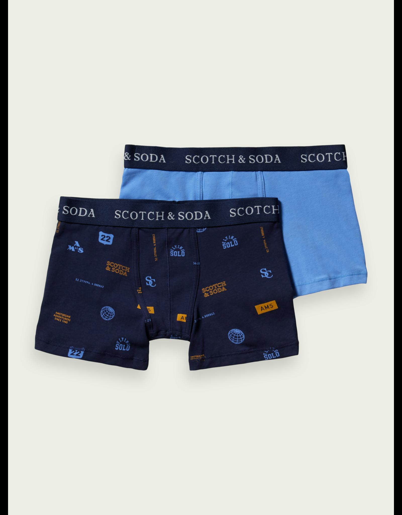Scotch & Soda Boxershort 2 pack lichtblauw en navy