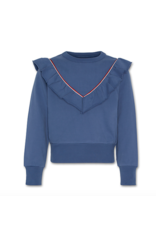 A076 Sweater ruffle mid blue