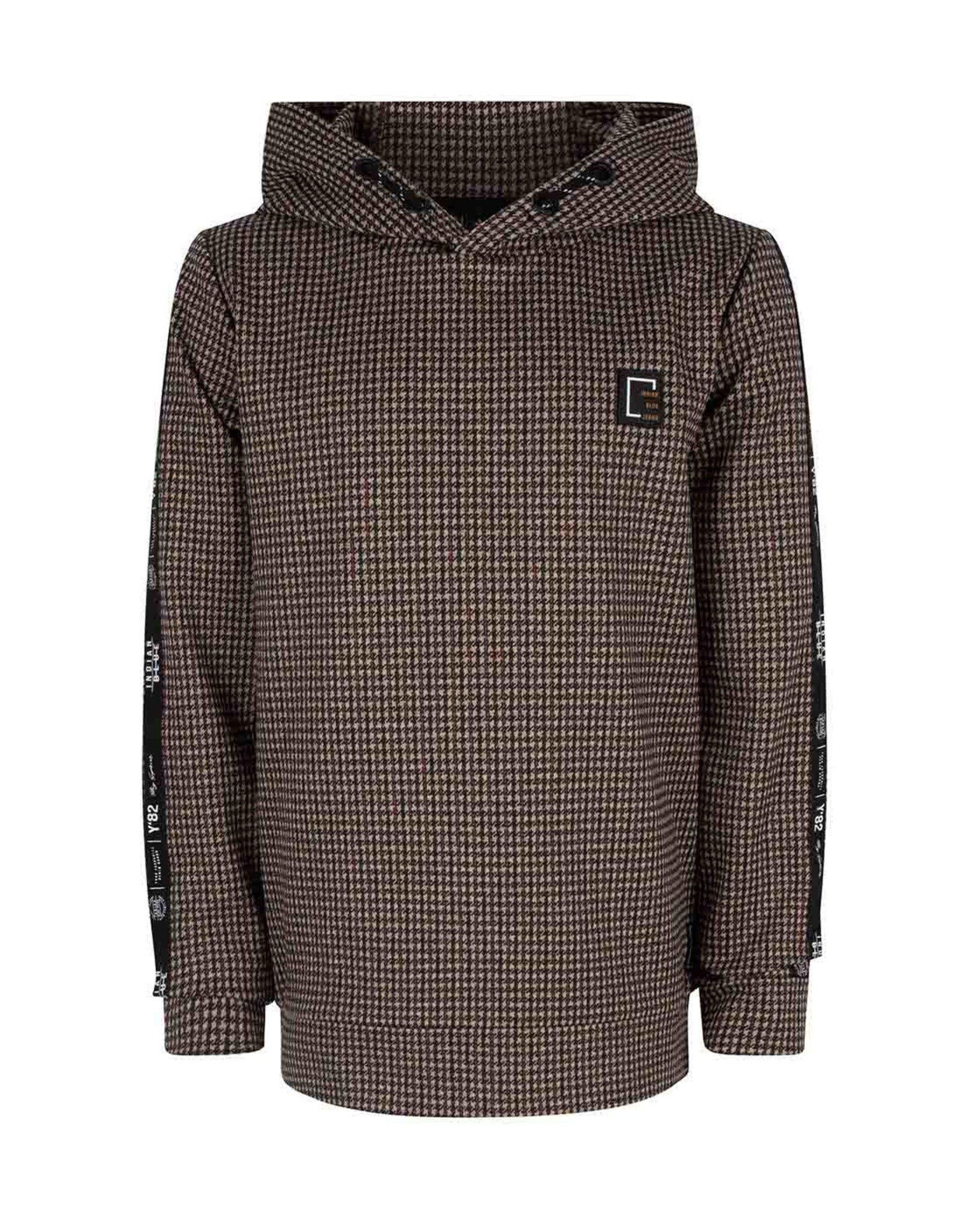 Indian Blue Jeans Hoodie bruin-rood checked
