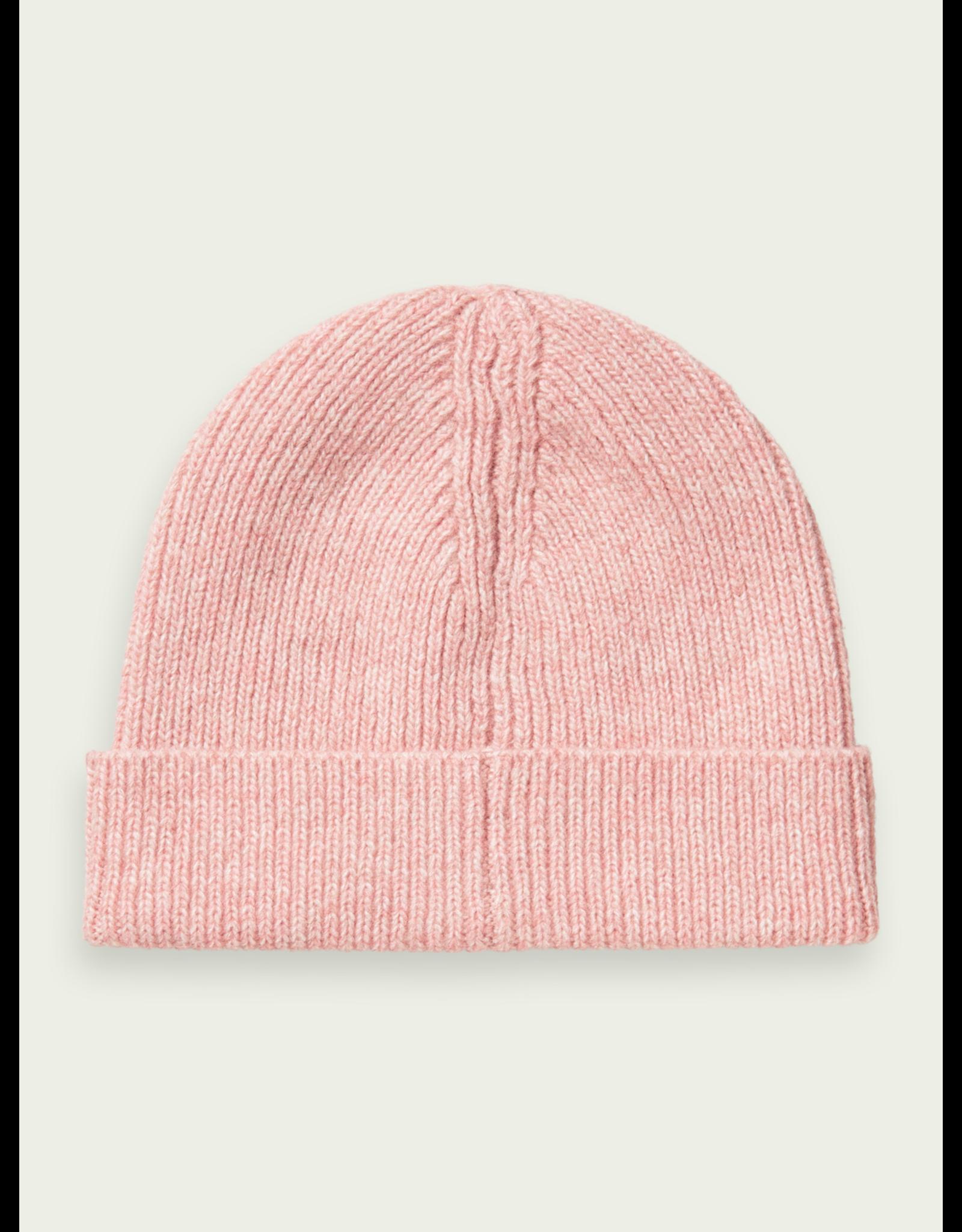 Scotch & Soda Beanie rib-knit wool blend pink