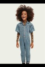 Scotch & Soda Ams blauw jumpsuit balloon sleeves