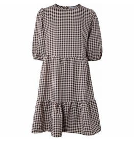 HOUNd geruite jurk pofmouwen