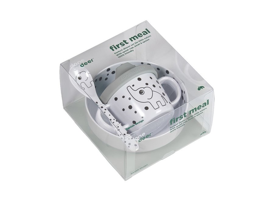 First Meal Set Happy Dots Grey