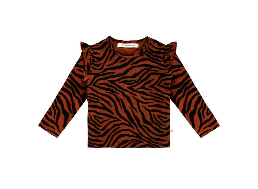 Ruffle Shoulder Top -  Zebra