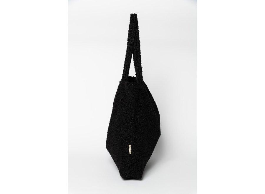 Black bouclé mom-bag