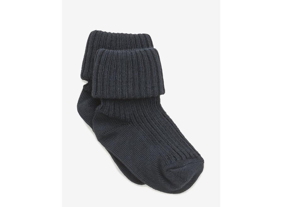 Cotton Rib Baby Socks - Blue
