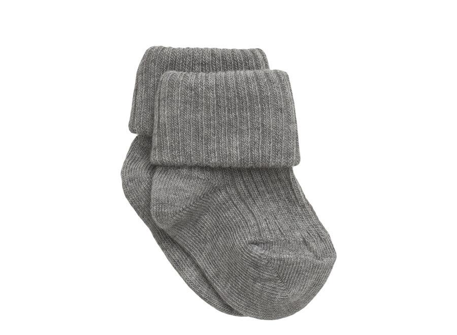 Cotton Rib Baby Socks - Grey