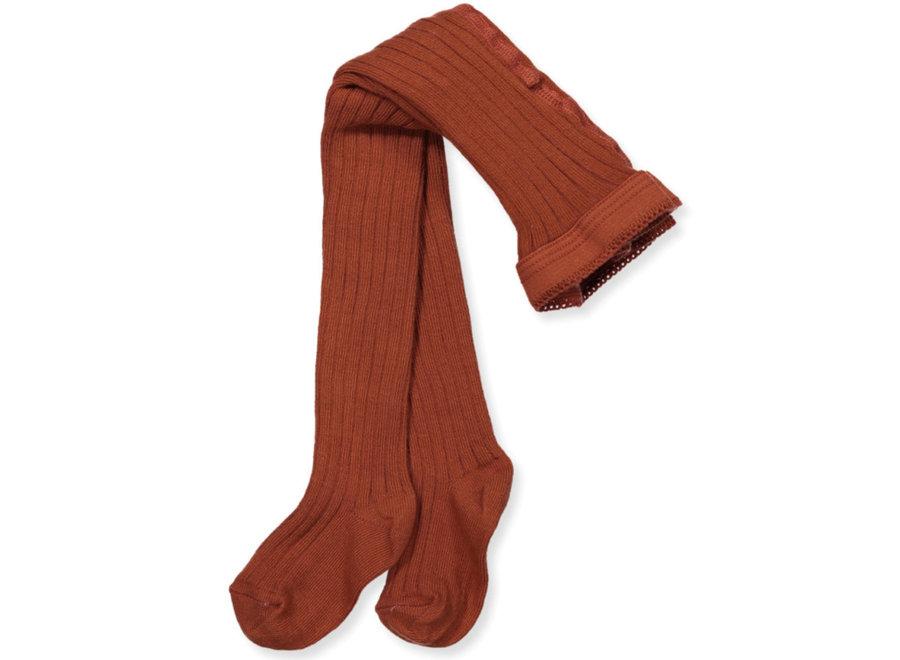 Cotton Rib Tights - Brown