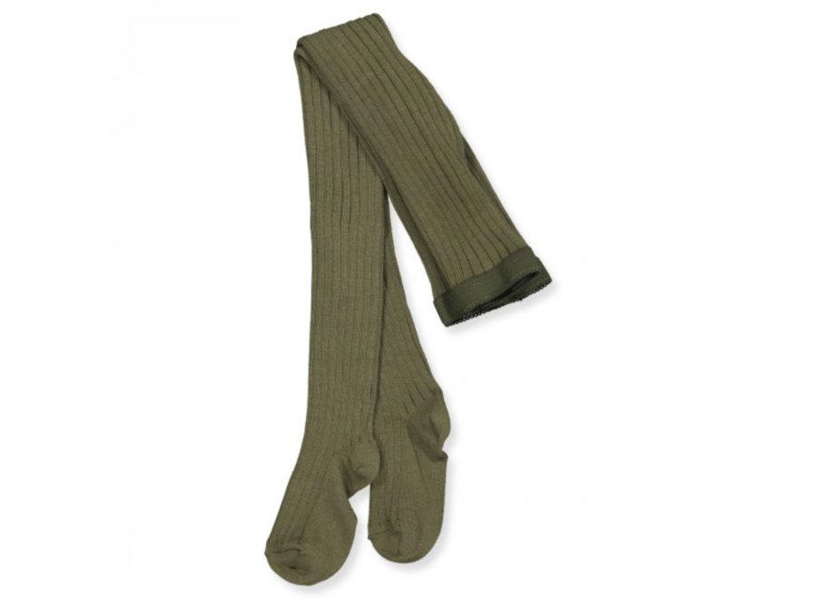 Cotton Rib Tights - Green
