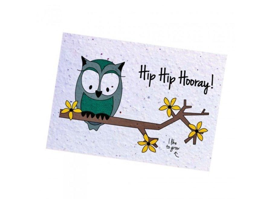 Fleurige kaart - Owl Hooray