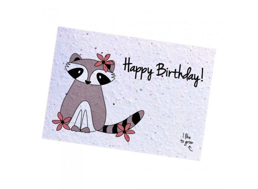 Fleurige kaart - Racoon Birthday