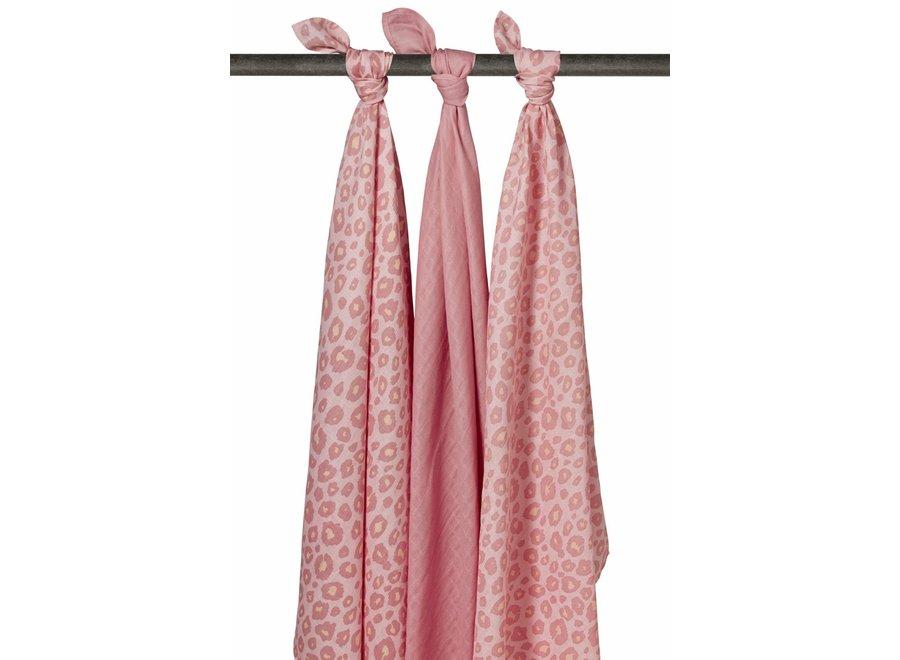 Hydrofiel doek 120x120 (3st) - Panter Pink-Roze