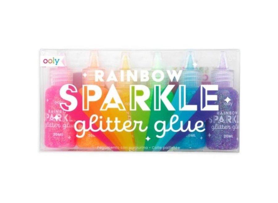 Regenboog glitter lijm