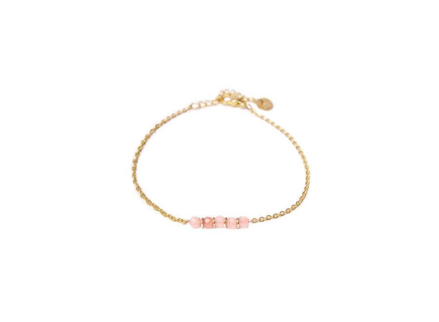 Jade Pink Bracelet Gold