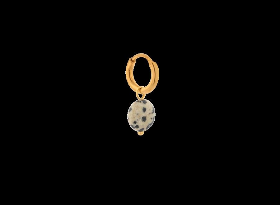 Single Dalmatian round hoop gold