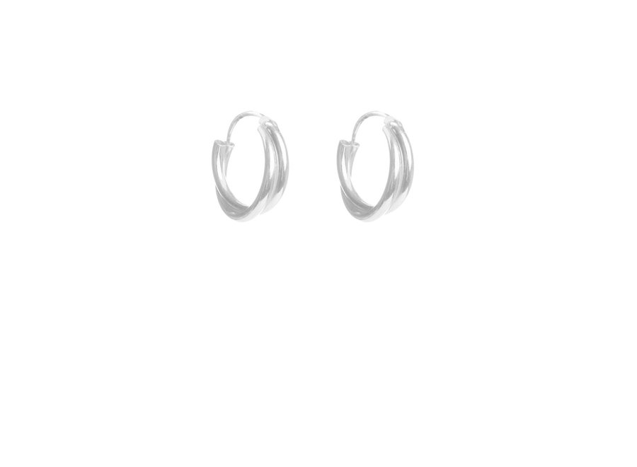 Double Twisted Hoops Silver