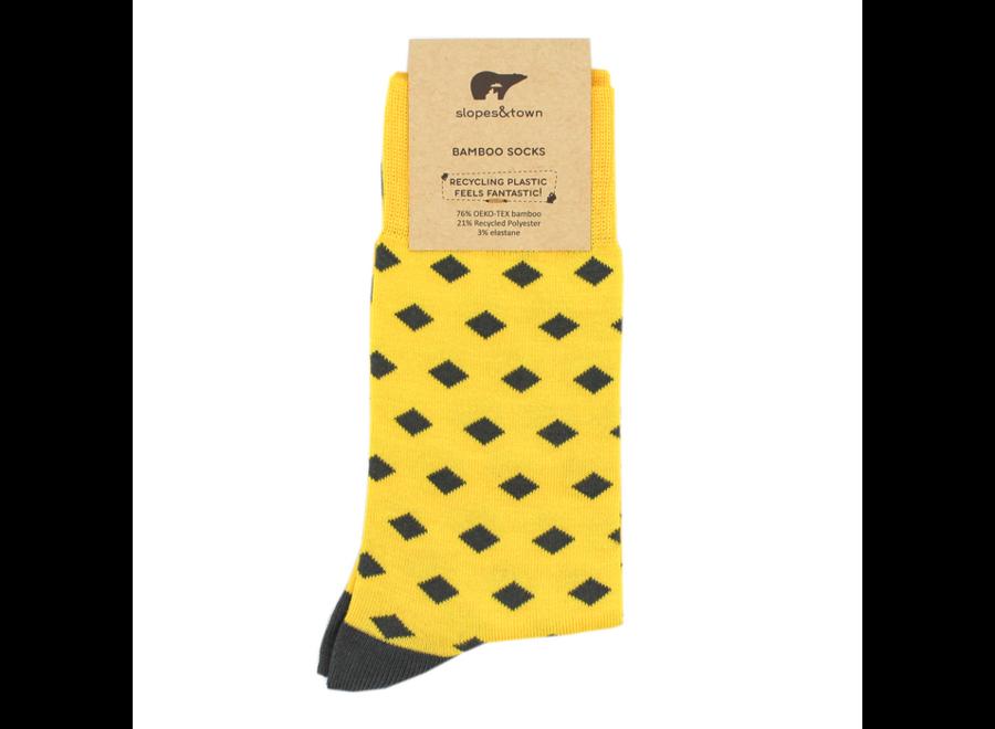 Sokken - Yellow with grey daimonds 42-46