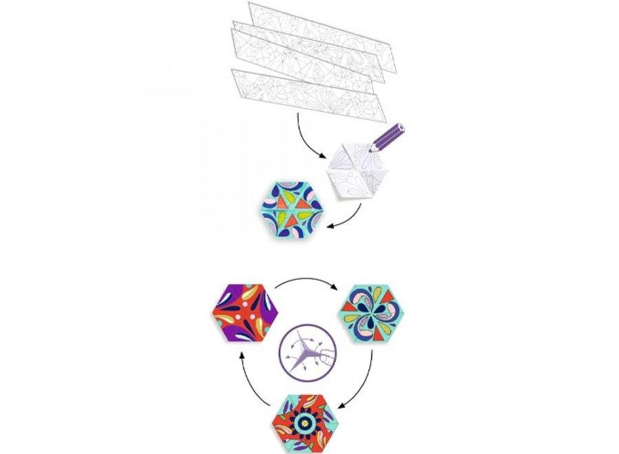 Knutselpakket - Bloemen Mandela kleuren en vouwen