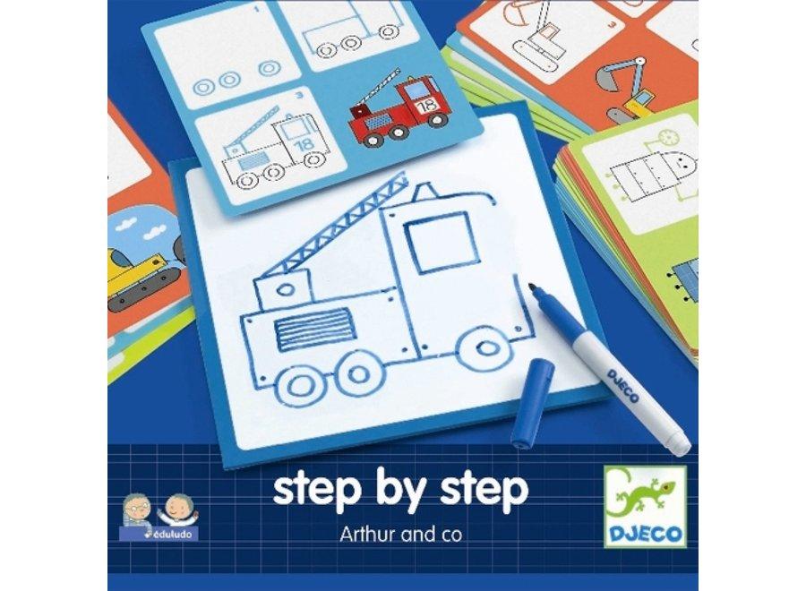 Tekenkaart - stap voor stap voertuigen