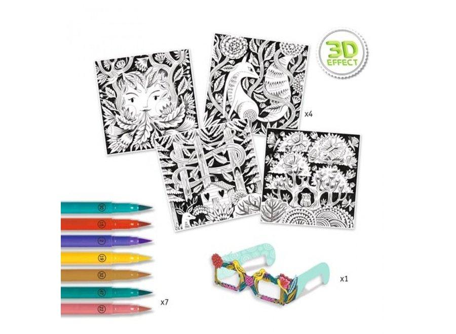 Knutslepakket 3d kleuren fantasiebos