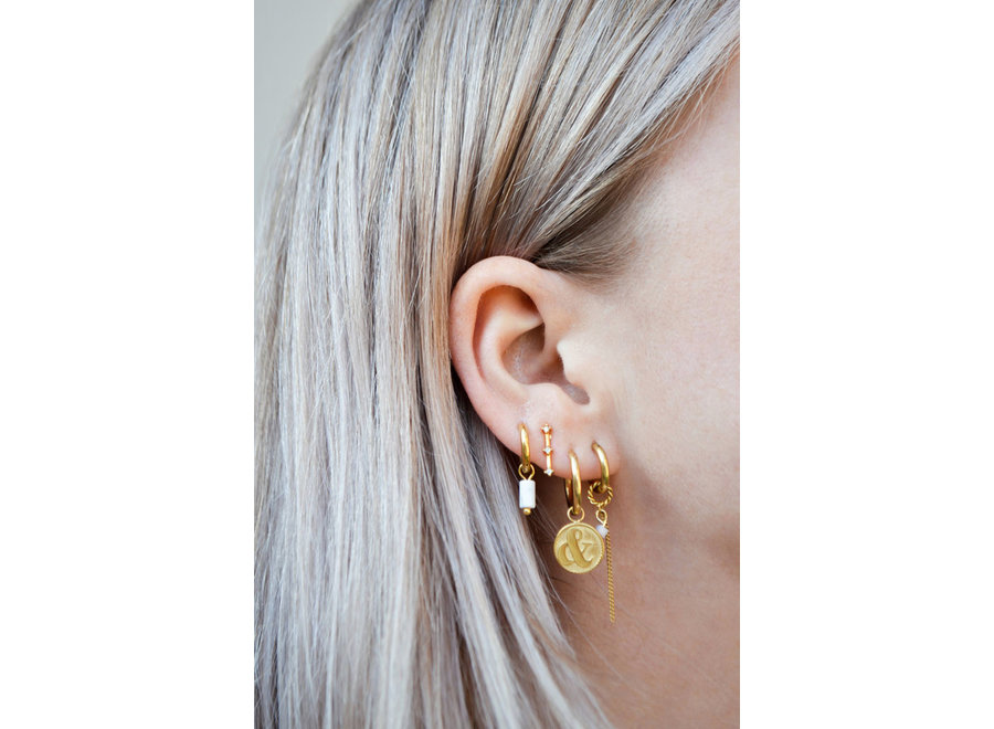 Single small marble tube hoop gold