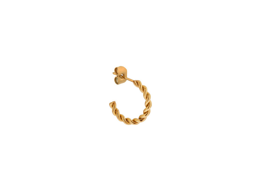 Single half twisted hoop gold