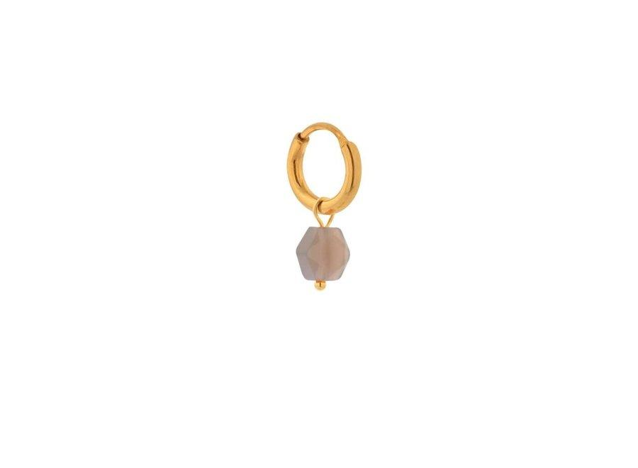 Single Grey agate hoop gold