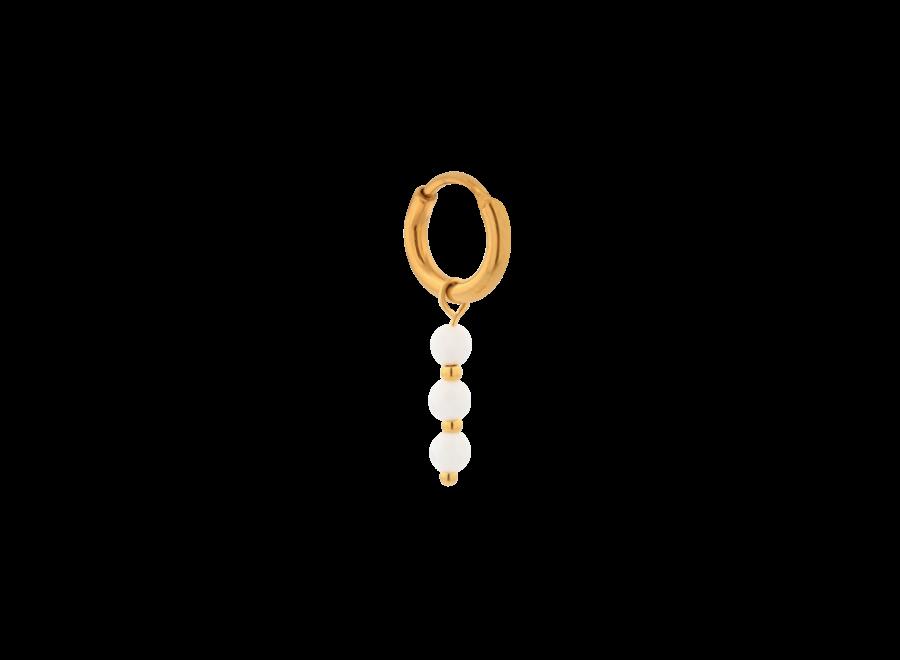 Single triple white hoop gold