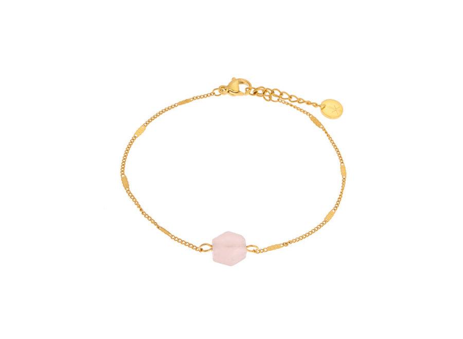 Rose quartz hexagon bracelet gold
