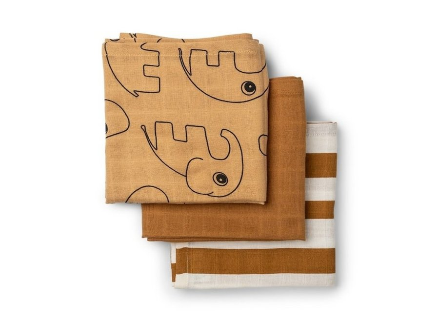 Hydrofiele doeken - 3 pack - Deer friends Mustard