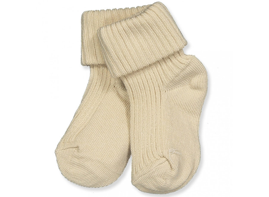 Cotton Rib Baby Socks - Ecru