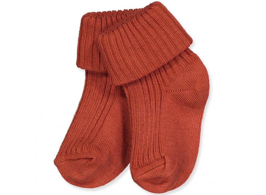 Cotton Rib Baby Socks - Rust