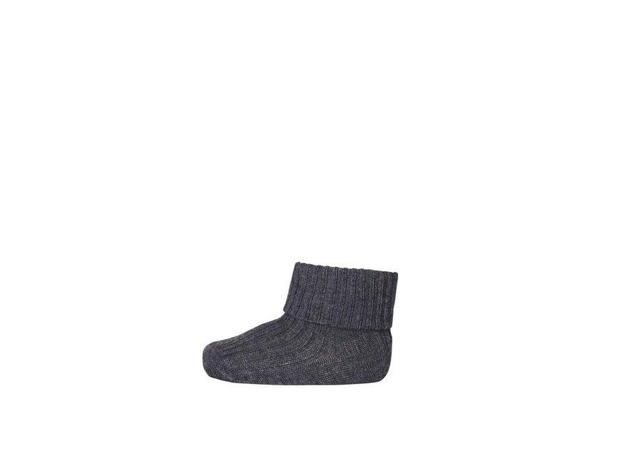 Cotton Rib Baby Socks - Dark Grey