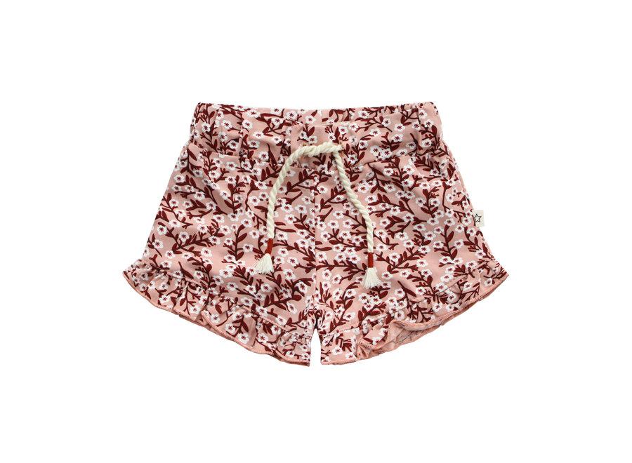 Floral Ruffle Shorts - Peach