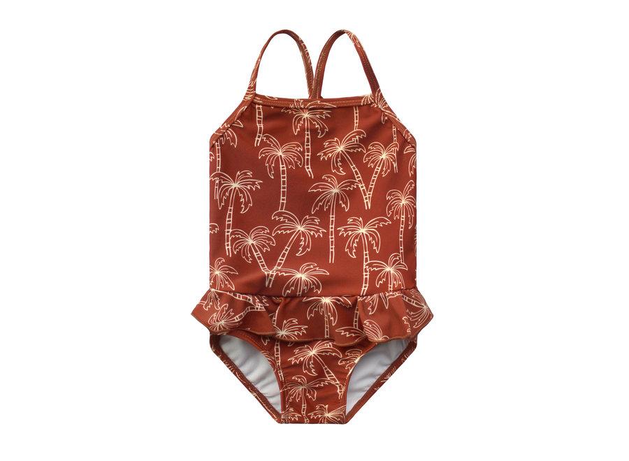 Palmtrees Swimsuit - Dark Rust
