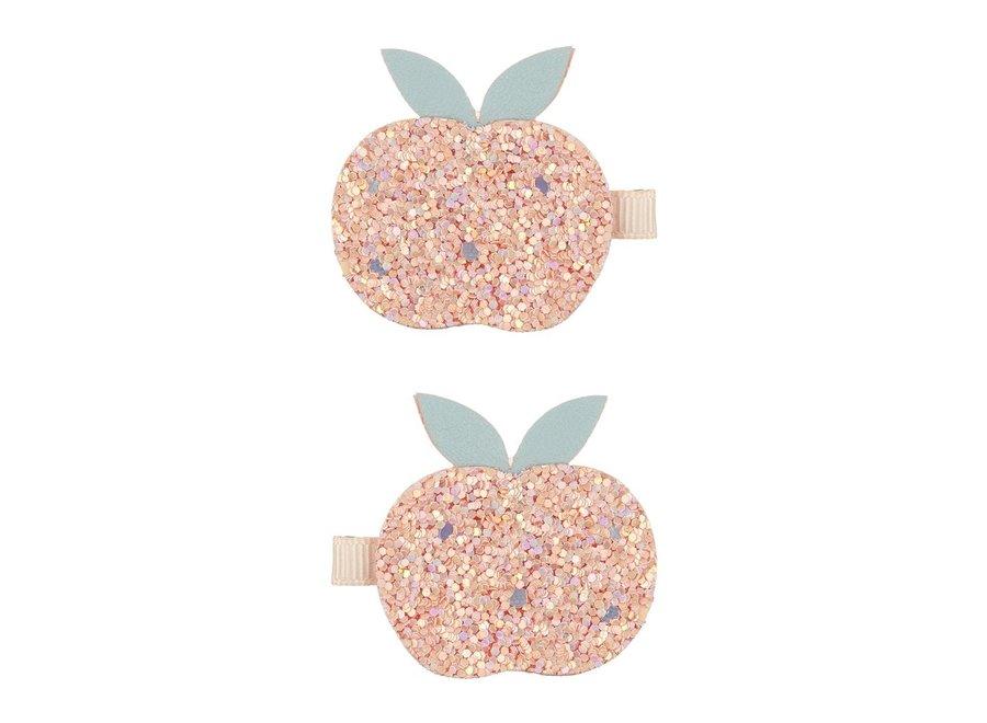 Glitter peach  clips