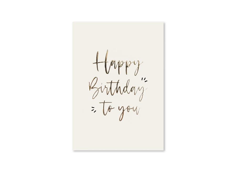 Kaart Goudfolie   Happy Birthday