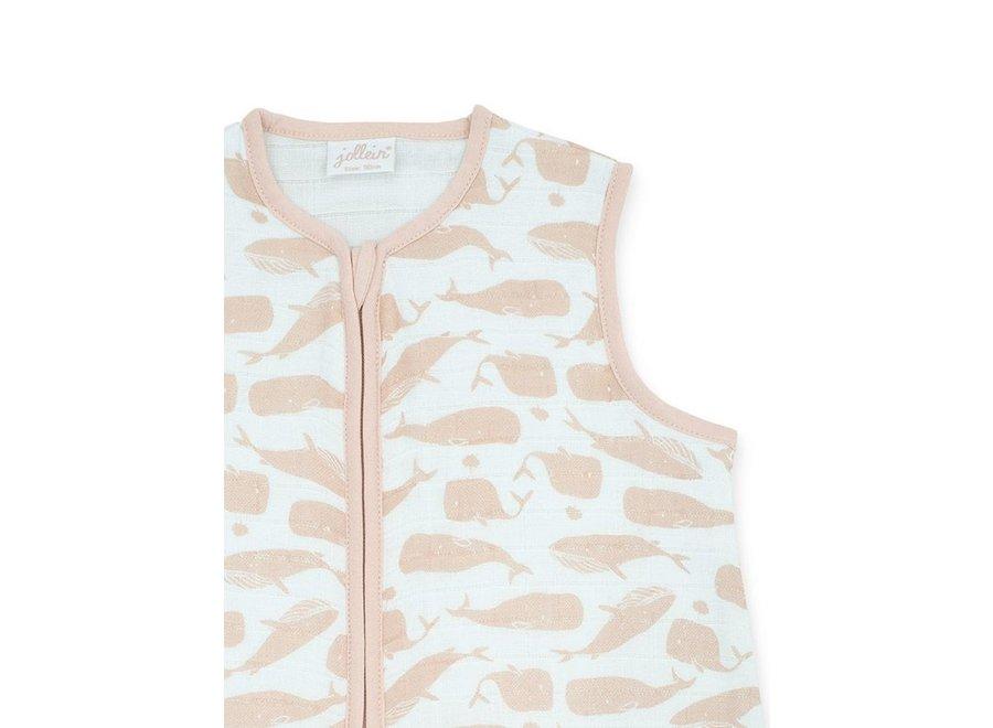 Slaapzak zomer 90cm hydrofiel Whales pale pink