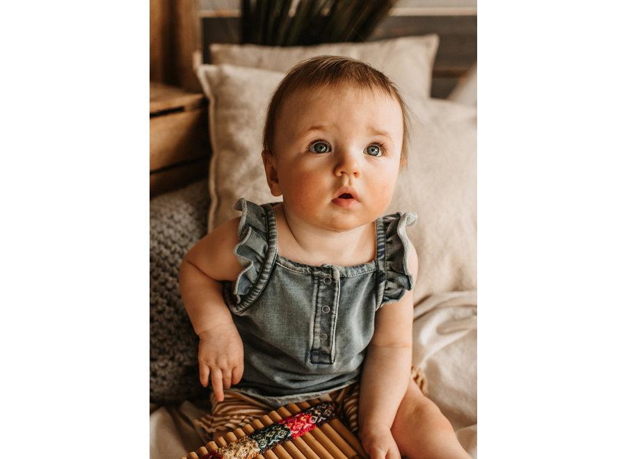 Knitted Denim - Ruffle Singlet