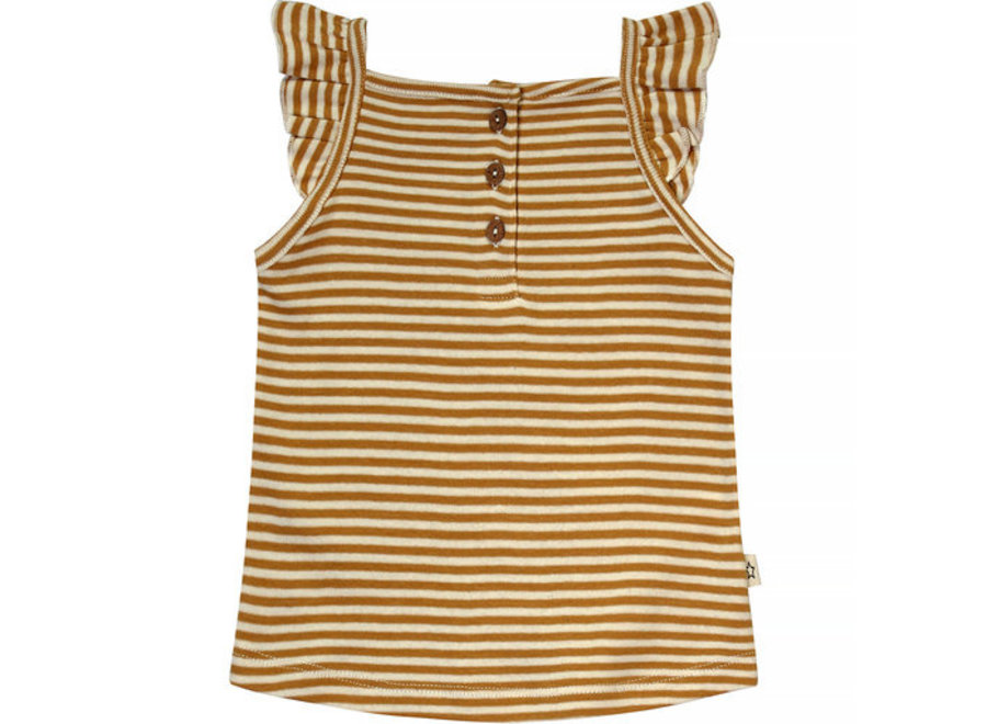 Gold Stripes   Ruffle Singlet Soft Yellow