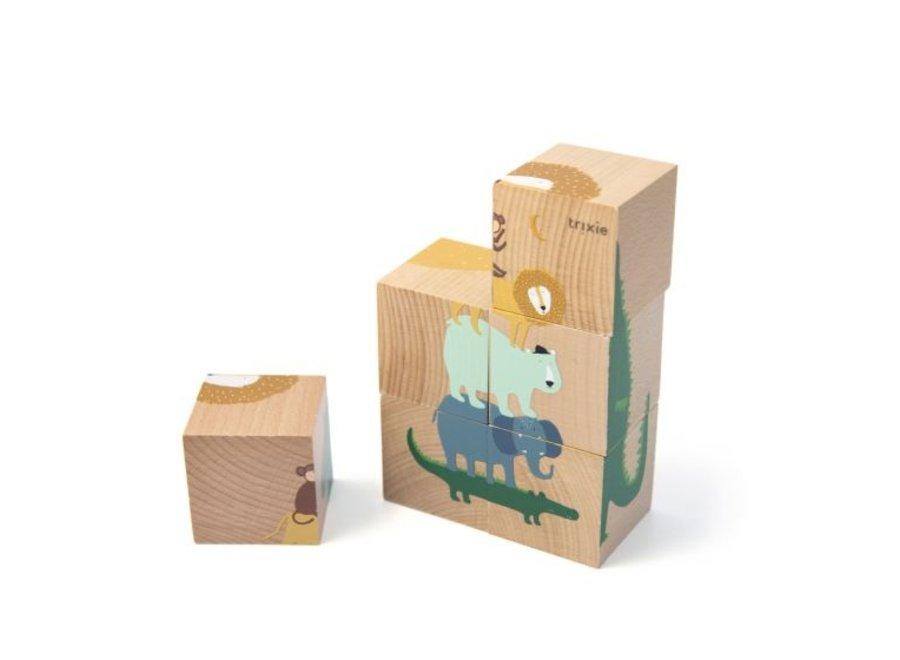 Houten puzzelblokken