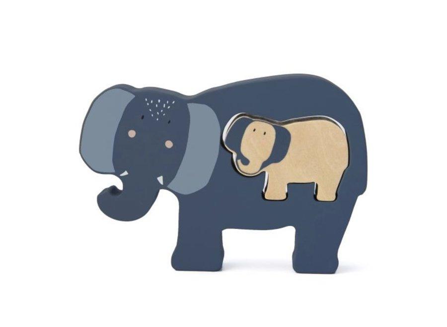 Houten babypuzzel - Mrs. Elephant