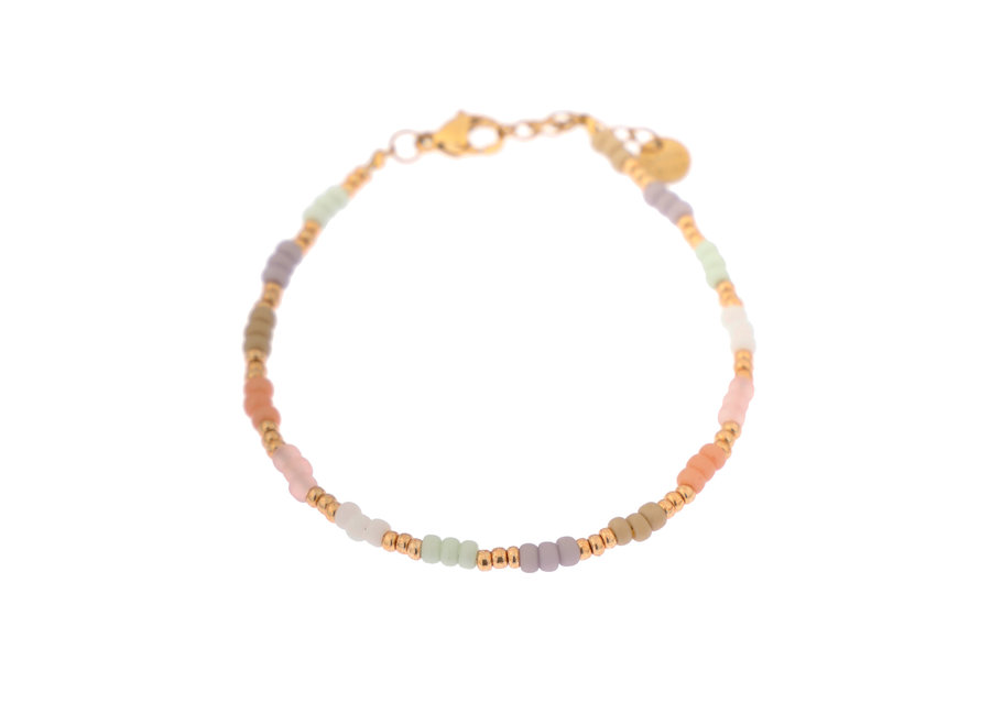 Pastel rainbow bracelet gold