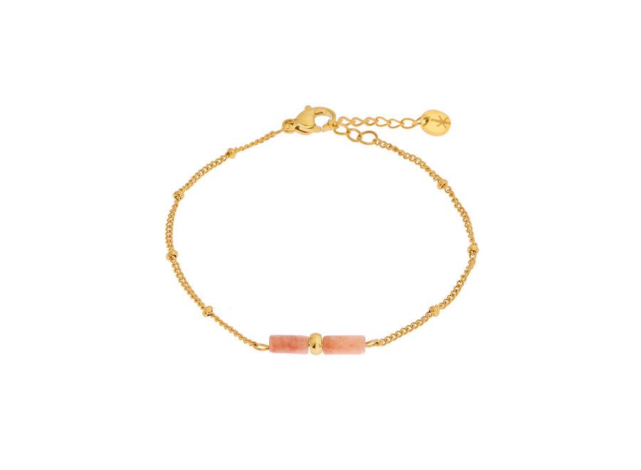 Red plum tube bracelet gold