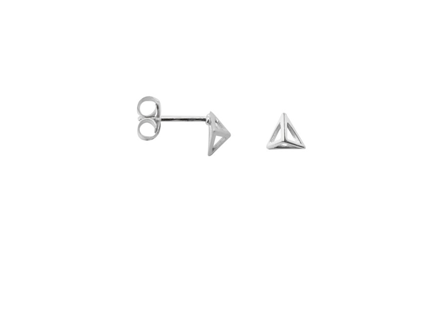 Earring Triangle Pyramid Silver