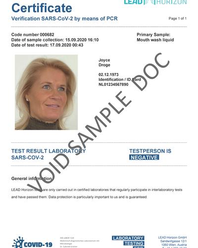 Reisdocument Negatieve Corona Test (PDF)